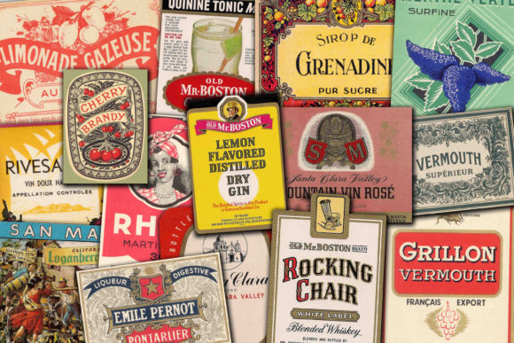 Vintage Labels Graphic By retrowalldecor