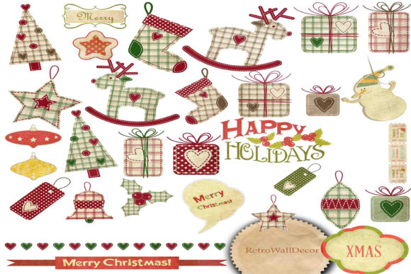 Print on Demand: Christmas Clip Art Graphic Illustrations By retrowalldecor