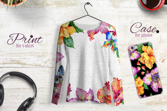 Print on Demand: Hibiscus Watercolor Flower Set Graphic Illustrations By MyStocks - Image 3
