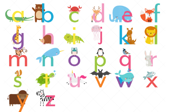 Animal Alphabet Clipart Lowercase Graphic Illustrations By ClipArtisan