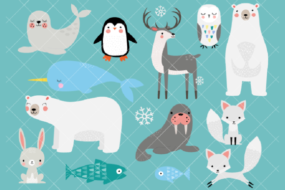 Arctic Animals Clipart Winter Animals Graphic Illustrations By ClipArtisan
