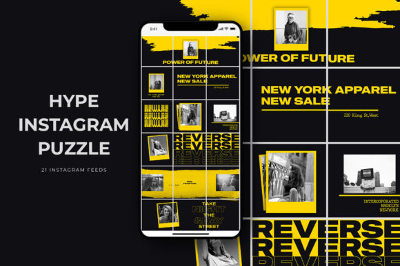 Hype Instagram Puzzle Templates Graphic Web Elements By qohhaarqhaz