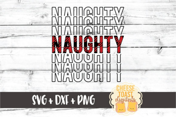 Download Free Buffalo Plaid Naughty Mirror Word Graphic By Cheesetoastdigitals for Cricut Explore, Silhouette and other cutting machines.