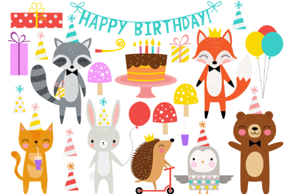 Birthday Party Animals Clipart Graphic Illustrations By ClipArtisan