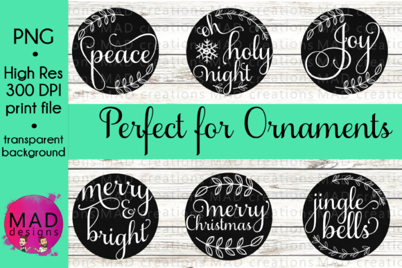 Black Chalkboard Christmas Ornaments Graphic Crafts By maddesigns718