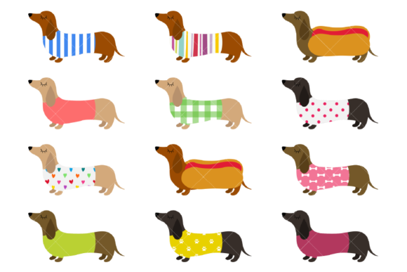 Dachshunds Clipart Cute Sausage Dogs Graphic Illustrations By ClipArtisan