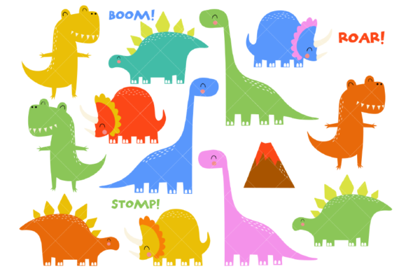 Dinosaur Clipart Prehistoric Animals Graphic Illustrations By ClipArtisan