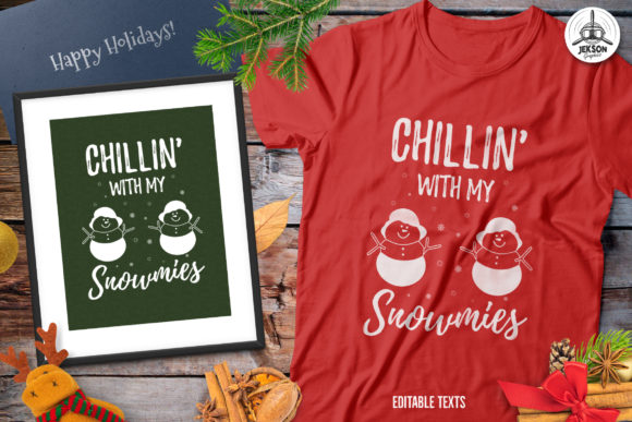 Funny Christmas Snowman TShirt Retro Graphic Print Templates By JeksonGraphics