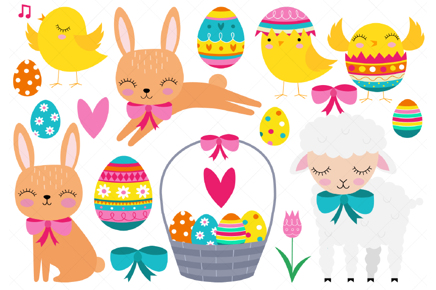 Download Free Easter Clipart Easter Baby Animals Graphic By Clipartisan for Cricut Explore, Silhouette and other cutting machines.