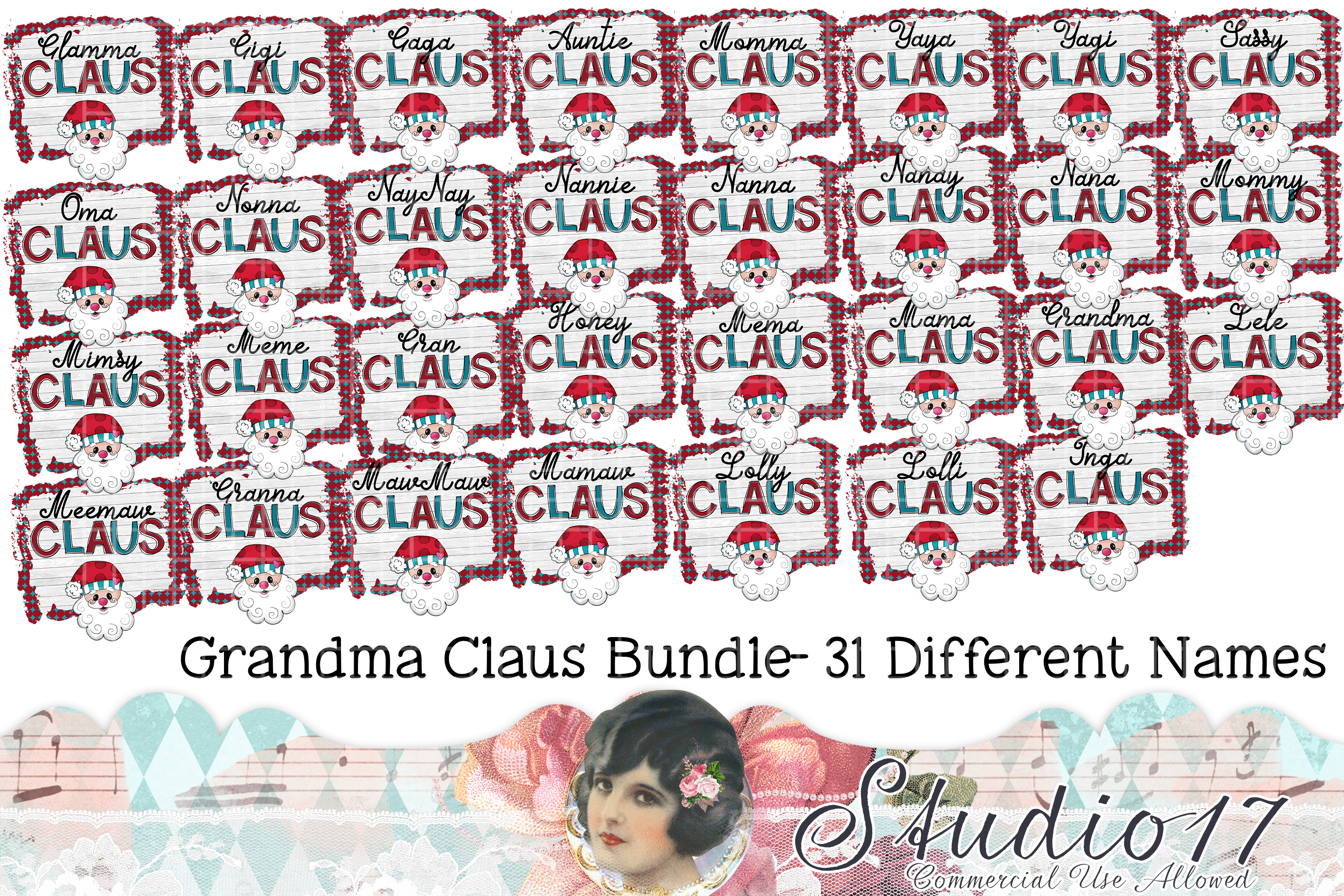 Download Free Grandma Clause Name Bundle Graphic By Studio 17 Designs for Cricut Explore, Silhouette and other cutting machines.