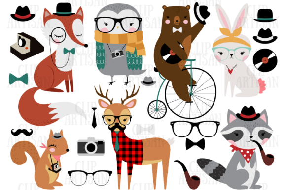Hipster Animals Clipart Woodland Animals Graphic Illustrations By ClipArtisan - Image 1