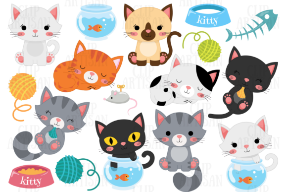 Cat Clipart Kittens Pets Graphic Illustrations By ClipArtisan - Image 1
