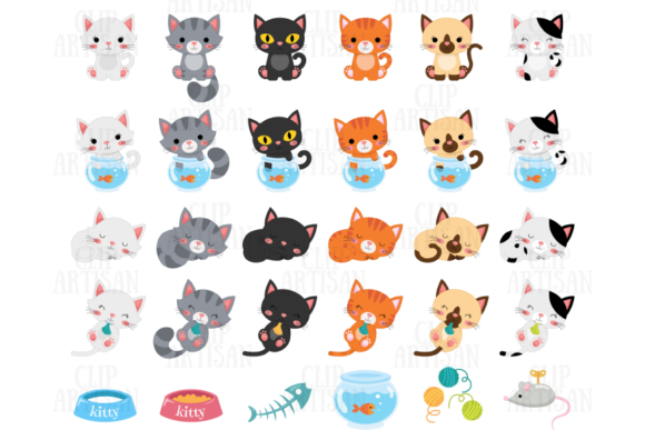 Cat Clipart Kittens Pets Graphic Illustrations By ClipArtisan - Image 2