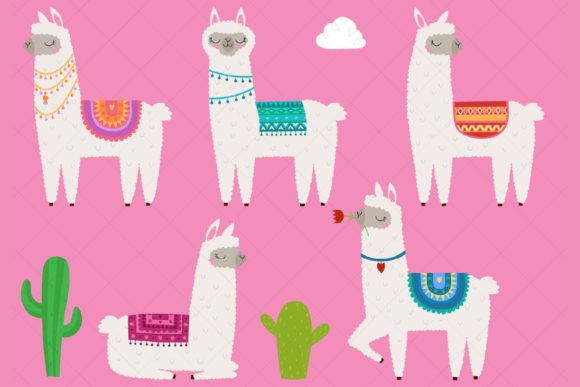 Llama Clipart Alpaca Printable Graphic Illustrations By ClipArtisan
