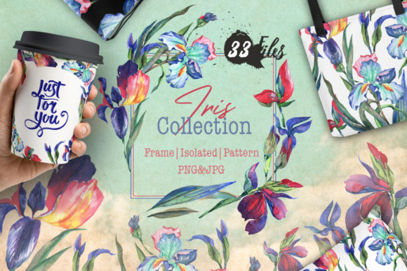 Print on Demand: Irises Collection Frames & Patterns Graphic Illustrations By MyStocks