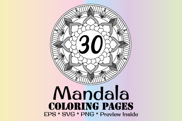 Print on Demand: 30 Mandala Coloring Pages Vector Bundle Graphic Coloring Pages & Books Adults By GraphicsFarm - Image 1