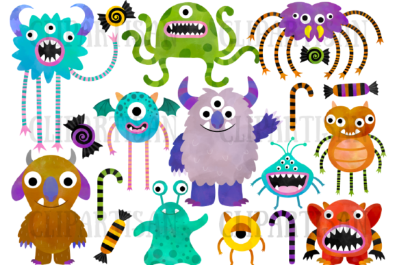 Watercolor Monsters Clipart Halloween Graphic Illustrations By ClipArtisan - Image 1