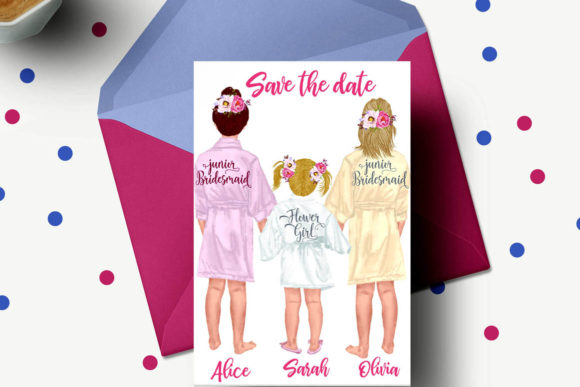 Flower Girls Clipart Junior Bridesmaids Graphic Illustrations By LeCoqDesign - Image 4