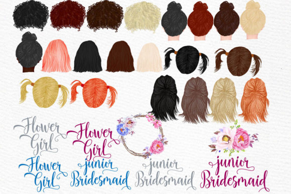 Flower Girls Clipart Junior Bridesmaids Graphic Illustrations By LeCoqDesign - Image 3