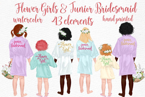 Flower Girls Clipart Junior Bridesmaids Graphic Illustrations By LeCoqDesign - Image 1