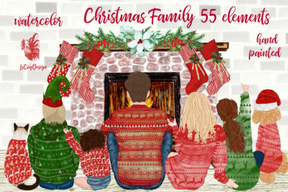 Christmas Family Fireplace Chrismas Graphic Illustrations By LeCoqDesign - Image 1
