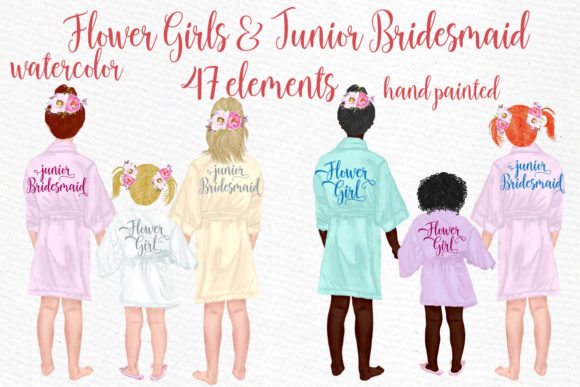 Flower Girls Clipart Junior Bridesmaids Graphic Illustrations By LeCoqDesign