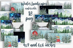 Print on Demand: Winter Background Holiday Scenes Graphic Illustrations By LeCoqDesign