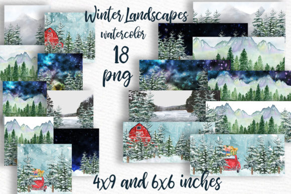 Winter Background Holiday Scenes Graphic Illustrations By LeCoqDesign