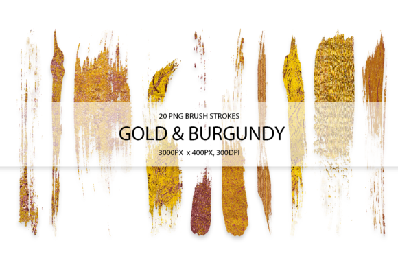 Burgundy & Gold Strokes Graphic Arts & Entertainment By FaeryDesign