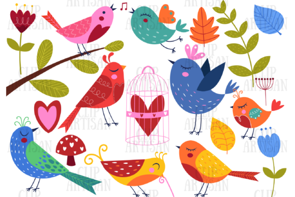 Download Free Pretty Birds Clipart Love Valentines Graphic By Clipartisan Creative Fabrica for Cricut Explore, Silhouette and other cutting machines.