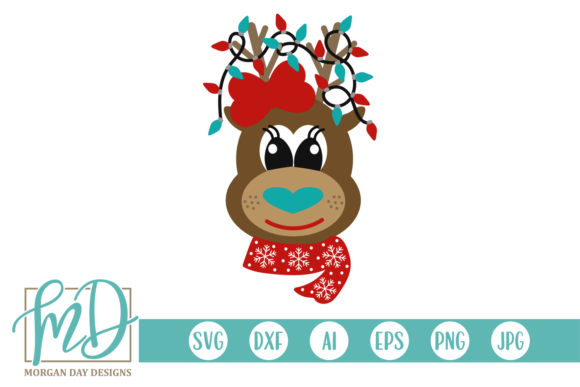Girl Reindeer Graphic Crafts By Morgan Day Designs