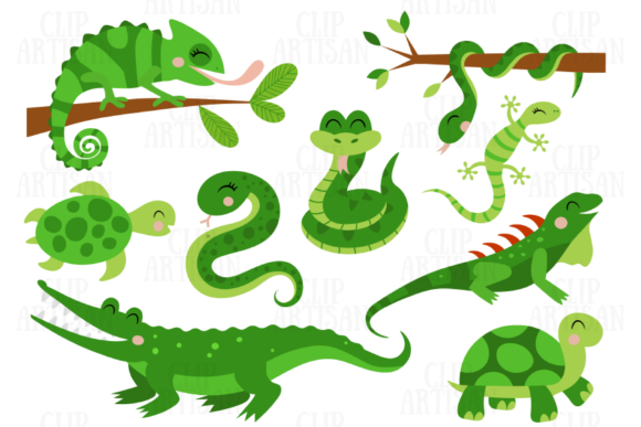 Reptiles Clipart Chameleon Crocodile Graphic Illustrations By ClipArtisan - Image 1