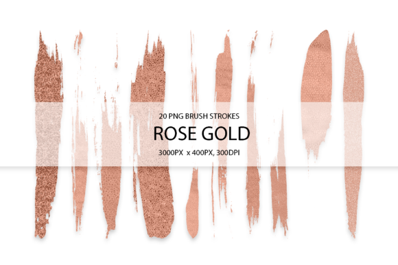 Rose Gold Strokes Graphic Arts & Entertainment By FaeryDesign