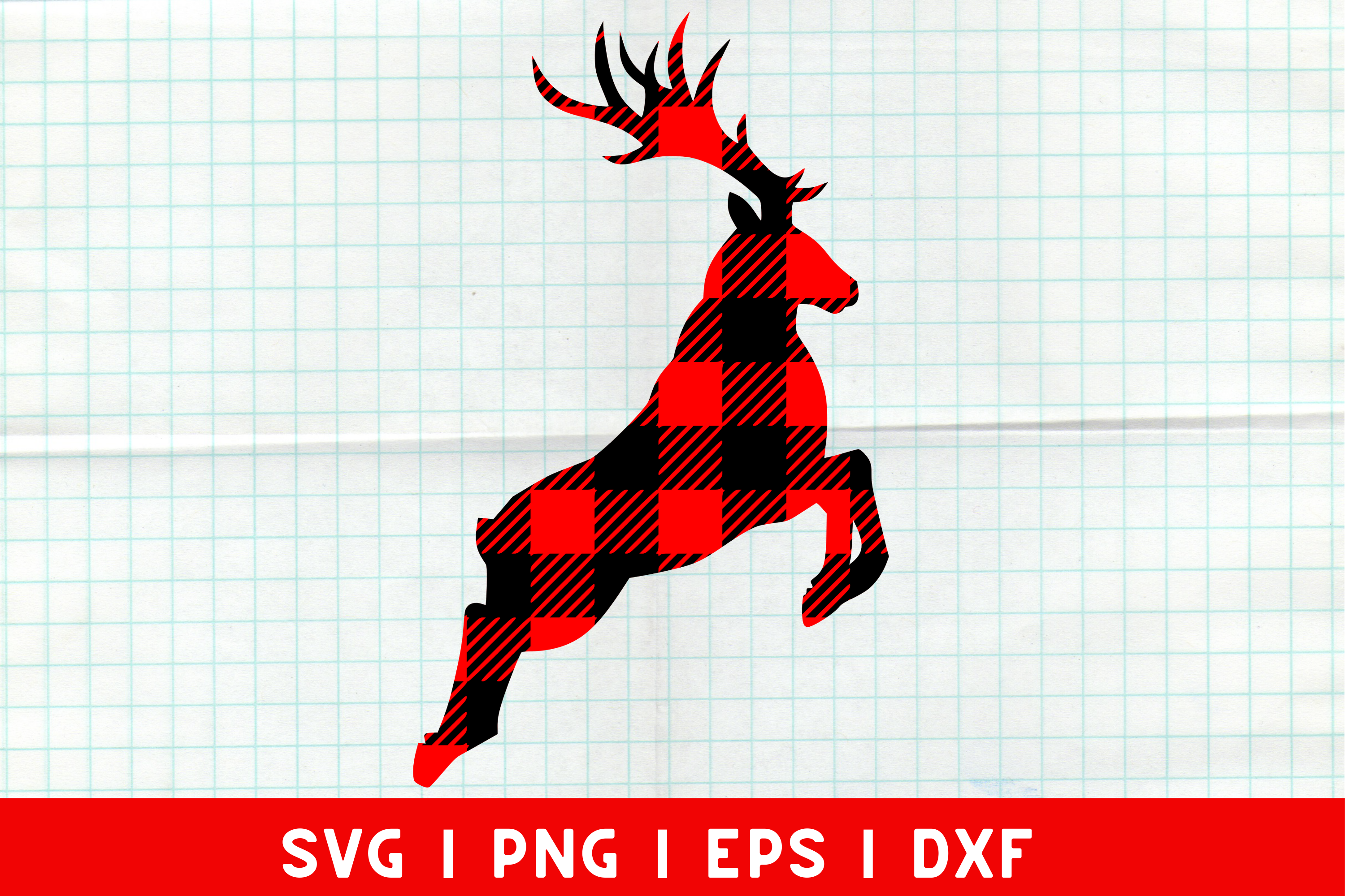 Download Free Christmas Reindeer Buffalo Plaid File Graphic By Mockup Venue for Cricut Explore, Silhouette and other cutting machines.
