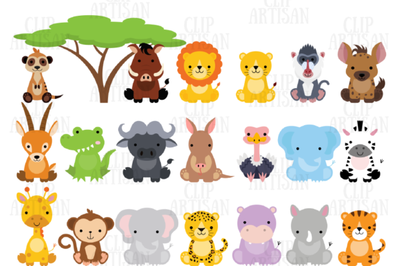 Safari Animals Clipart African Animals Graphic Illustrations By ClipArtisan - Image 1