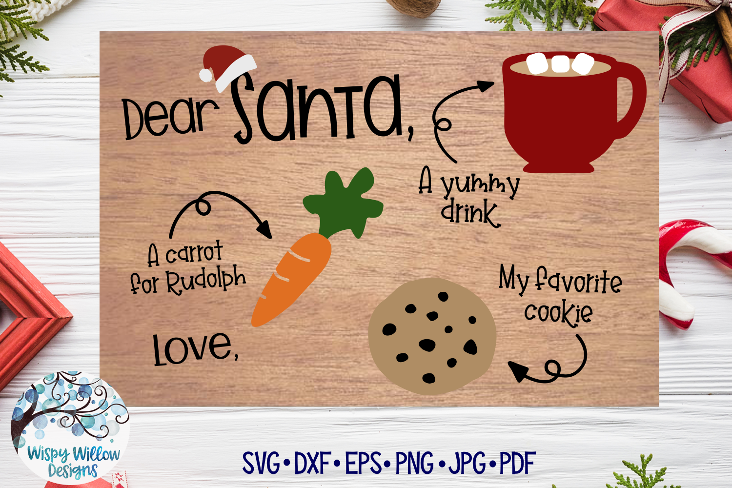 Download Free Christmas Santa Tray Graphic By Wispywillowdesigns Creative for Cricut Explore, Silhouette and other cutting machines.