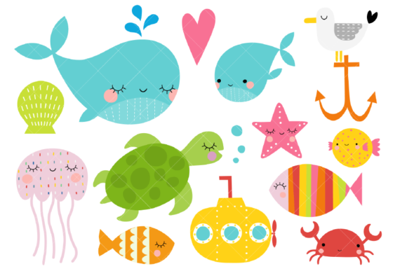 Sea Animals Clipart Under the Sea Ocean Graphic Illustrations By ClipArtisan