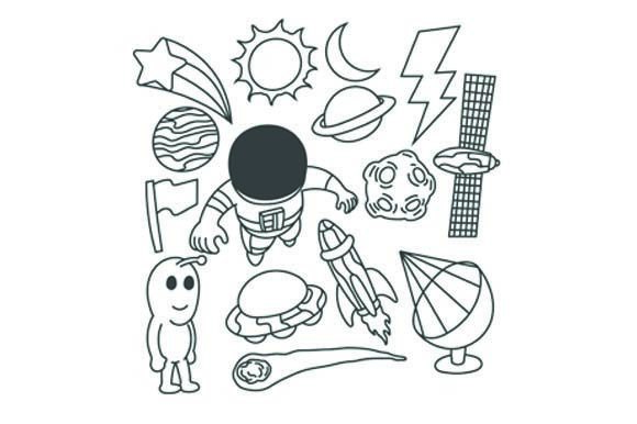 Download Free Set Of Astronaut Doodle Graphic By Firdausm601 Creative Fabrica for Cricut Explore, Silhouette and other cutting machines.