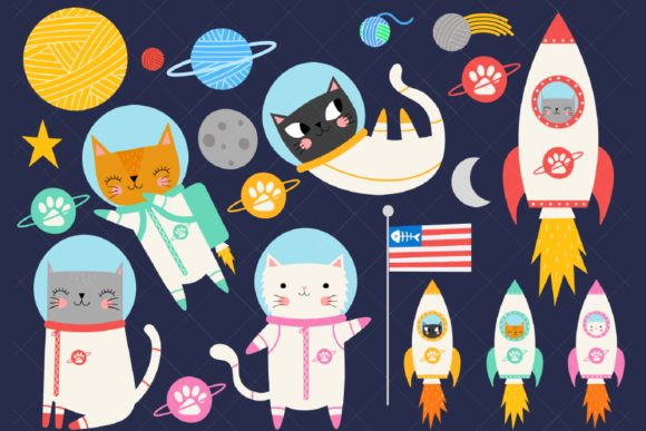 Space Cat Clipart Astronaut Kittens Graphic Illustrations By ClipArtisan