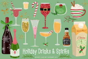 Holiday Drinks and Spirits Graphic Illustrations By Dapper Dudell 1
