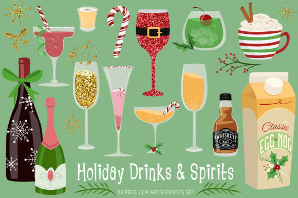 Holiday Drinks and Spirits Graphic Illustrations By Dapper Dudell - Image 1