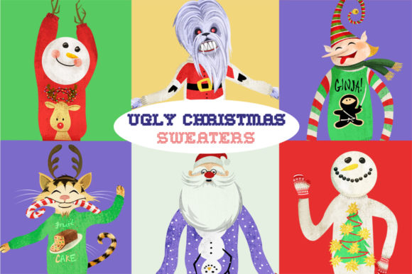 Ugly Christmas Sweaters Graphics Graphic Illustrations By Dapper Dudell
