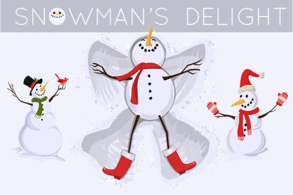 Snowman's Delight Graphic Illustrations By Dapper Dudell