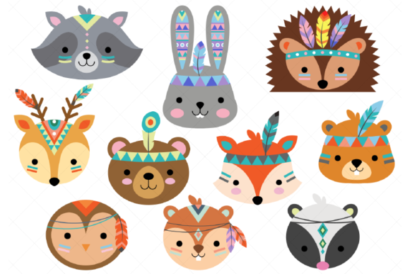 Download Free Tribal Woodland Animals Graphic By Clipartisan Creative Fabrica for Cricut Explore, Silhouette and other cutting machines.
