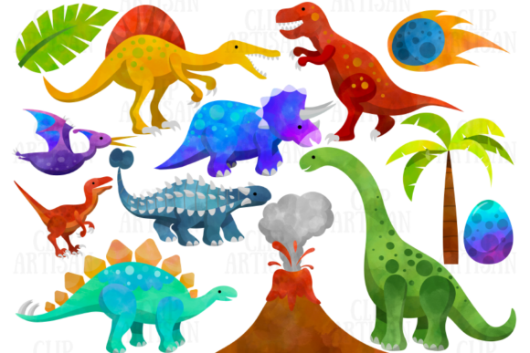 Watercolor Dinosaurs Clipart Graphic By ClipArtisan