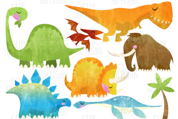 Watercolor Dinosaur Clipart Prehistoric1 Graphic Illustrations By ClipArtisan - Image 1