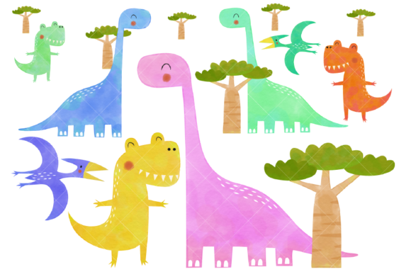 Watercolor Dinosaur Clipart Prehistoric Graphic Illustrations By ClipArtisan