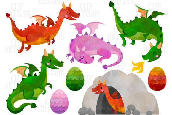 Dragon Clipart Watercolor Dragons Graphic Illustrations By ClipArtisan - Image 1
