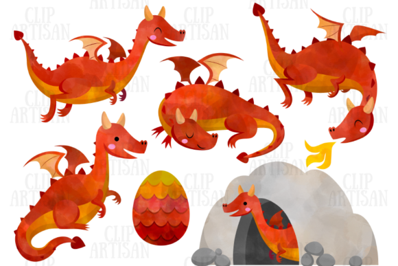 Dragon Clipart Watercolor Dragons Graphic Illustrations By ClipArtisan - Image 2