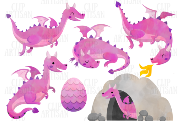 Dragon Clipart Watercolor Dragons Graphic Illustrations By ClipArtisan - Image 3